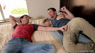 Lusty couple having bareback gay intercourse