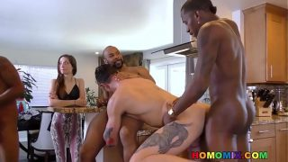 Pale guy gangbanged in front of her Wife