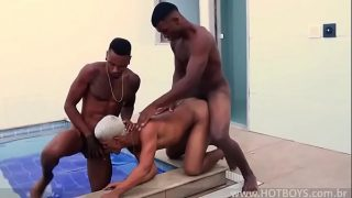 Two dark chocolate brothas tag team a blonde  cock slave