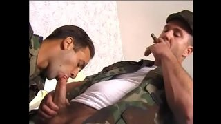 Gay military studs suck each other's hard cocks and get anally fucked
