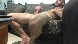 Hidden cam catches roommate jerking off to gay porn big cock and cumshot